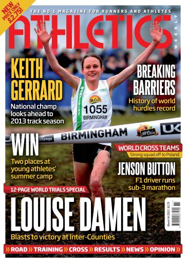 Louise Damen's win pictured on the cover of Athletics Weekly