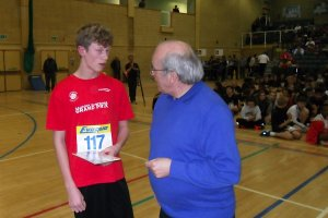Owen Lawrence receives the Under 15 Boys' team award