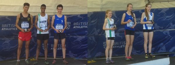 Mo Mahamed and Josie Czura receive their medals at the UK Inter-Counties Championships