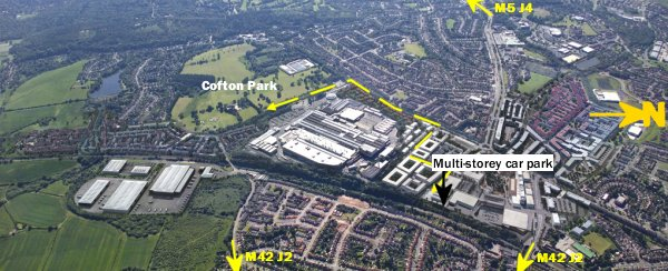 Map showing Cofton Park and designated parking
