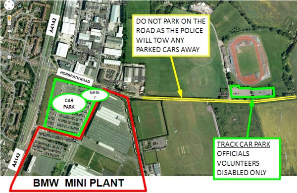 Parking map for SEAA Inter-Counties, Oxford